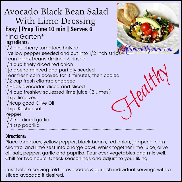 Printable Recipe For Avocado Black Bean Salad With Lime Dressing
