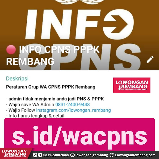 Grup WhatsApp Info CPNS PPPK Kabupaten Rembang [Non Resmi]