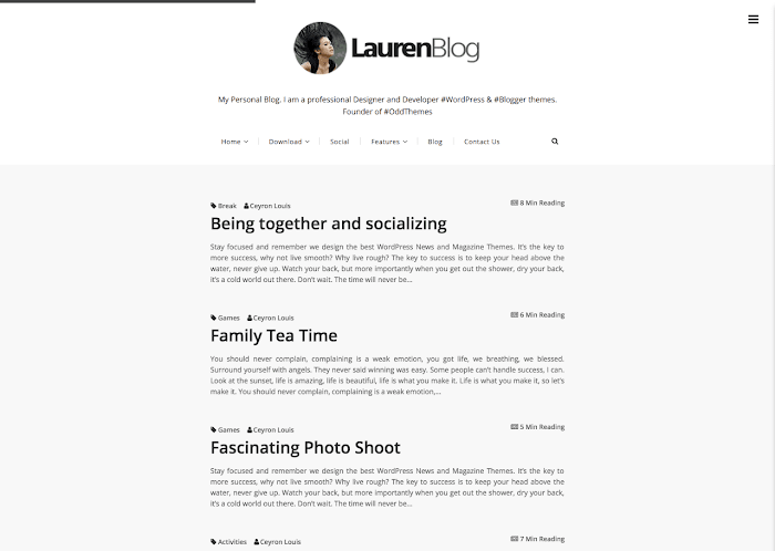 Lauren Free Blogger Template