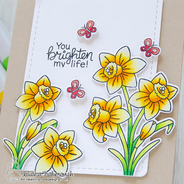 You Brighten My Life Daffodil Card by Tatiana Trafimovich | Daffodils Stamp Set and Frames & Flags Die Set by Newton's Nook Designs #newtonsnook