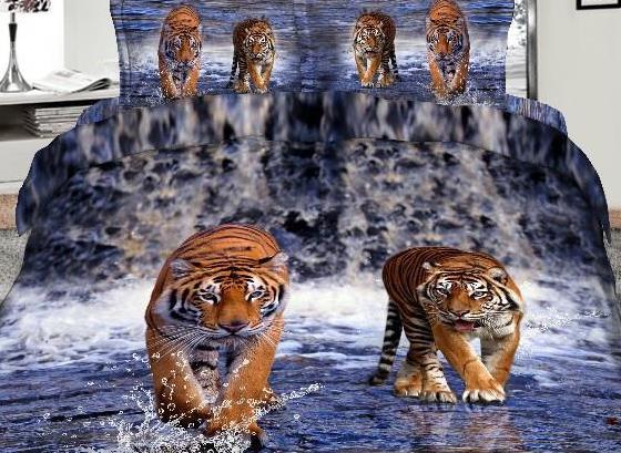 copriletto 3D con tigri