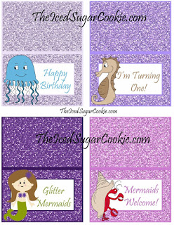 Happy Birthday, I'm Turning One! Glitter Mermaids, Mermaids Welcome! DIY Mermaid Under The Sea Birthday Party Printables-Food Label Tent Cards, Cupcake Toppers, Flag Garland Hanging Banner-Purple Glitter Digital Download Template-Seahorse, Jellyfish, Hermit Crab Chocolate Sea Shells, Fish Eggs, Ocean Waves, Mermaid Sandwiches How many Pearls, Take A Guess, Guess How Many Seashells, How Many?