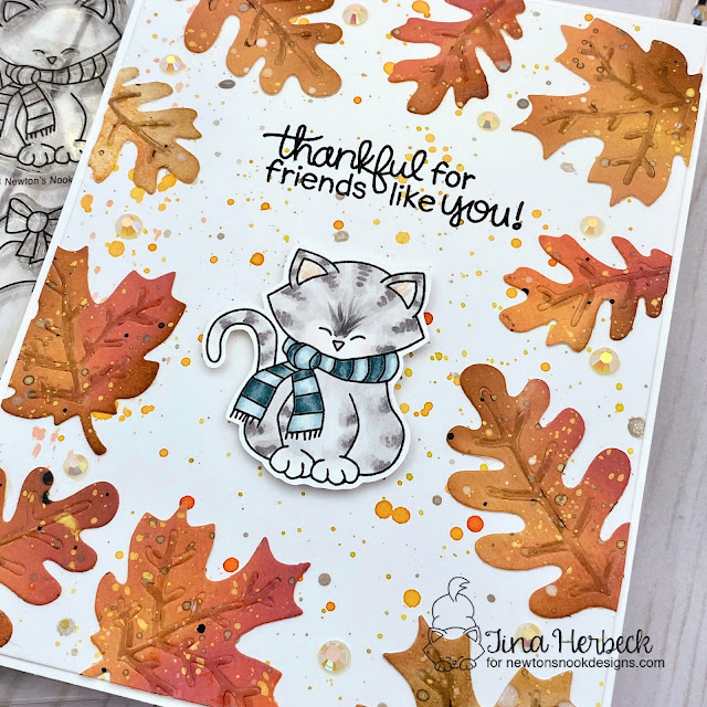 Thankful For Friends Like You Card by Tina Herbeck   Autumn Leaves Die Set, Newton's Holiday Mischief Stamp Set and Fall Friends Stamp Set by Newton's Nook Designs #newtonsnook