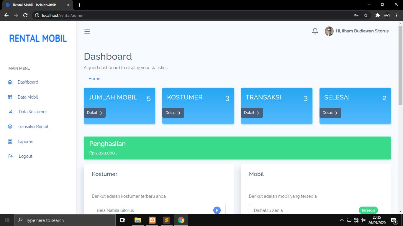 Source Code Aplikasi Rental Mobil Berbasih Web Menggunakan Codeigniter Dan MYSQLi