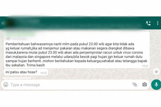 Viral di WA, Kabar Penyemprotan Racun Corona Malaysia dan Singapura Ternyata Hoax