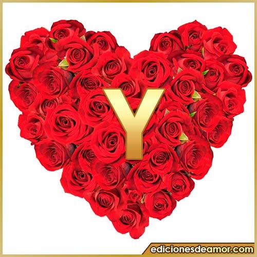 corazón de rosas con letra Y