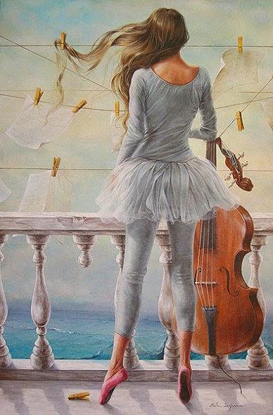 Concerto Para Violino - Chelìn Sanjuan e todo encanto em suas pinturas ~ Pintor espanhol