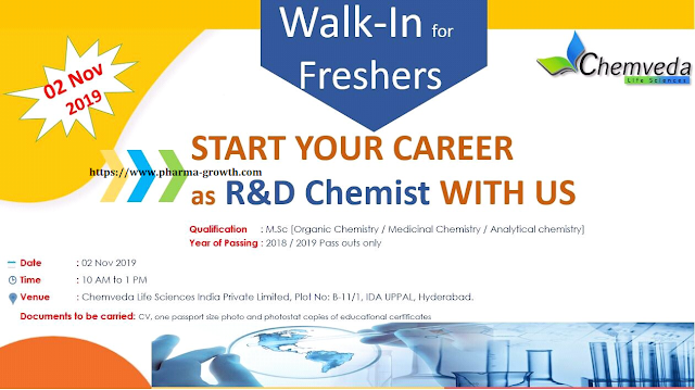 Chemveda Life Science – Walk in interview for Fresher Candidates on 02nd Nov, 20109