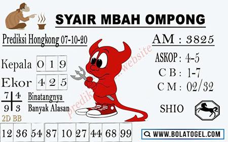 Syair Mbah Ompong HK Rabu 07 Oktober 2020