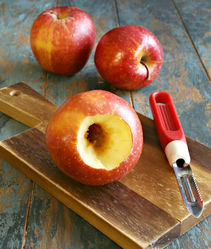Recipe for apples, filled with jam and crumb topping and baked until soft.