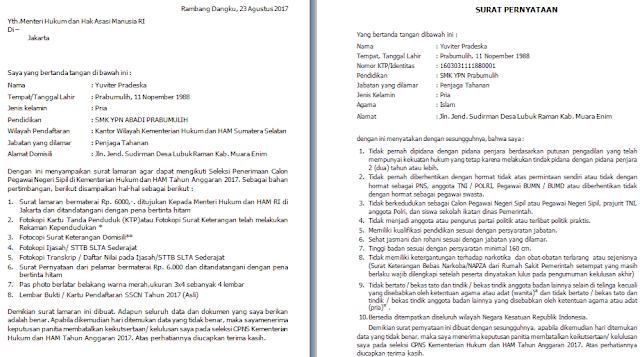 gambar Contoh Surat Lamaran dan Pernyataan CPNS Kemenkumham SMA Tahun 2017
