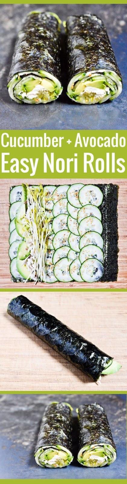 Quick Nori Roll with Cucumber and Avocado Recipe