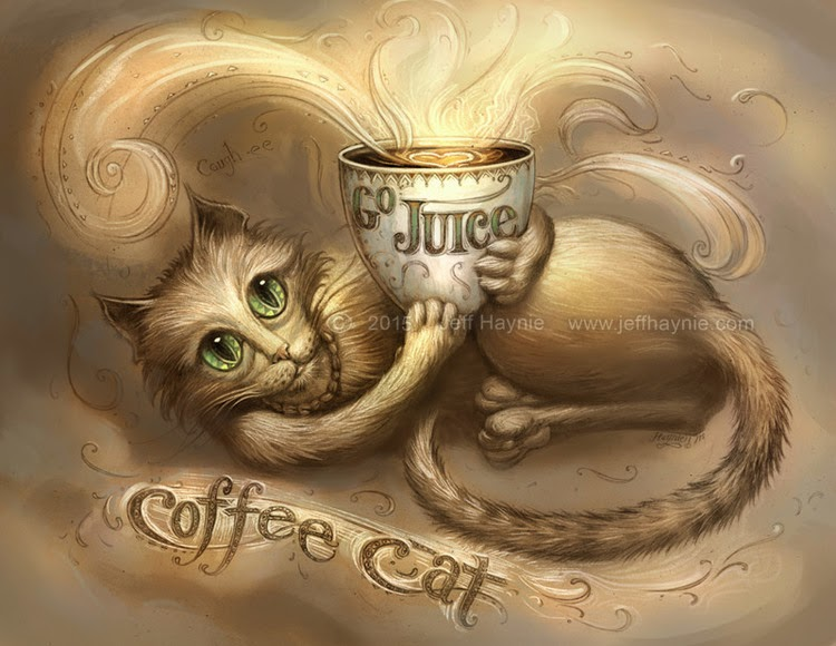 03-Coffee-Cat-Jeff-Haynie-Cats in Drawings-Paintings-and-Jewelry-www-designstack-co