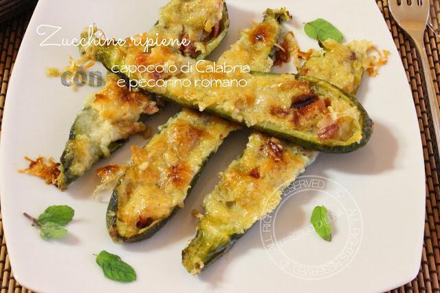 Zucchine ripiene con capocollo di Calabria e pecorino romano