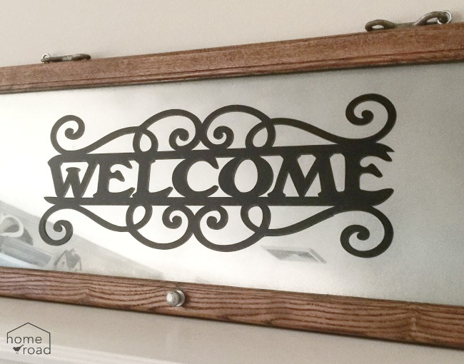 Repurposed Glass Door Welcome Sign Mirror www.homeroad.net
