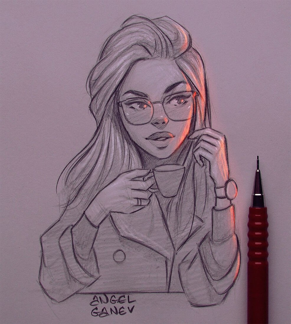 13-Coffee-Cup-Angel-Ganev-Luminous-Pencil-Portraits-that-Glow-www-designstack-co
