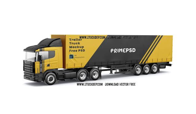 Trailer Truck Mockup Free PSD xe hàng