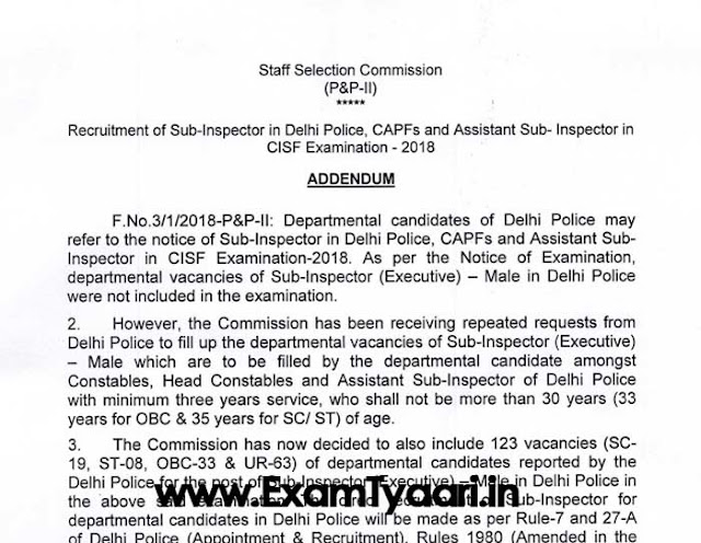 SSC CPO 2018 Last Date Extended to April 13, 2018 [PDF] - Exam Tyaari