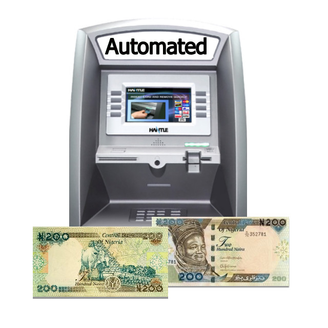 Picture of Bank ATM dispensing ₦200 Note