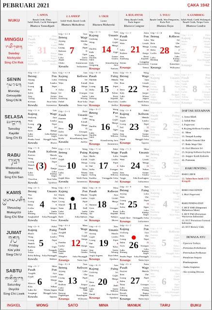 Kalender Bali Februari 2021 Lengkap