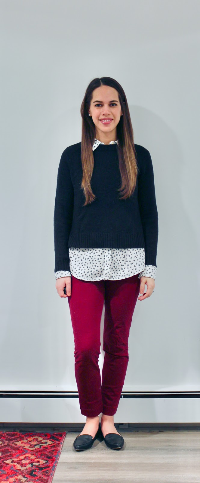 Jules in Flats - Patterned Button Up with Cropped Sweater & Skinny Ankle Pants (Business Casual Winter Workwear on a Budget)