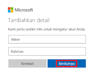 Masukkan Nama Email Outlook