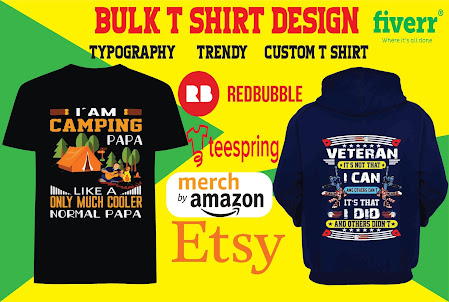 I will do create excellent typography or bulk t shirt design