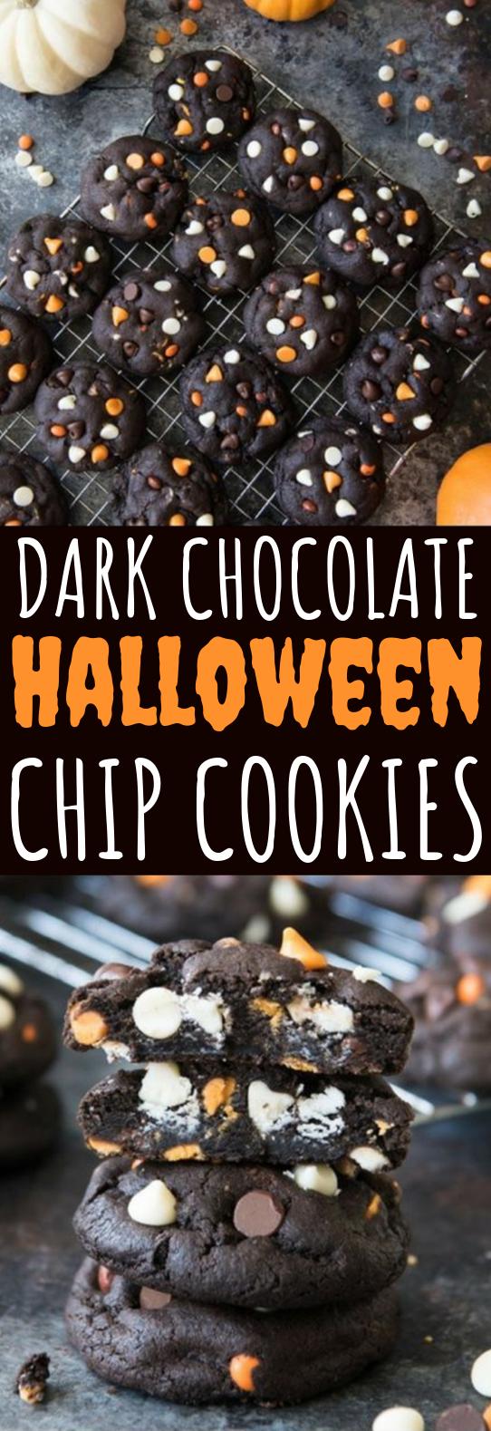 Dark Chocolate Halloween Chip Cookies #cookies #desserts