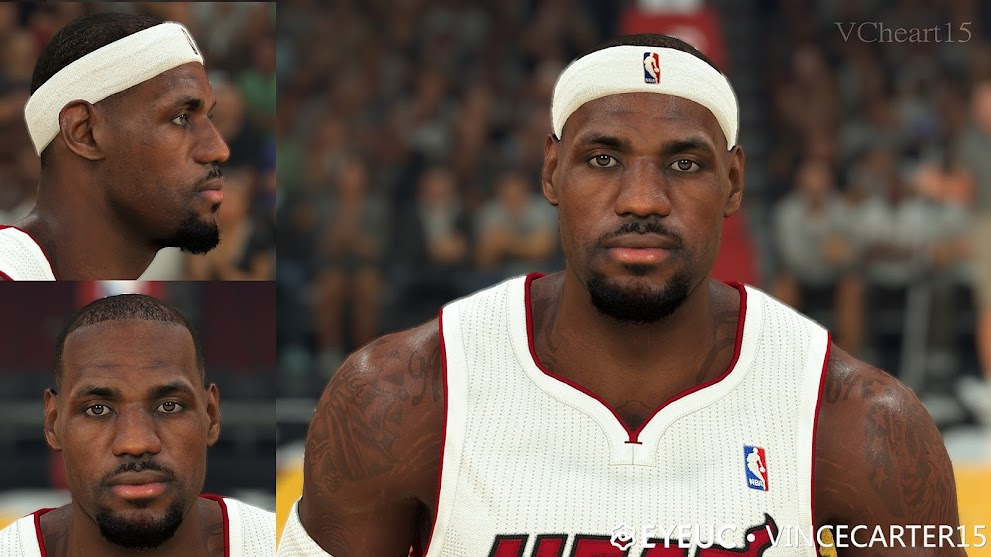 Lebron James Cyberface, Hair and Body Model Heat Version By VCHEART15 [FOR 2K21]