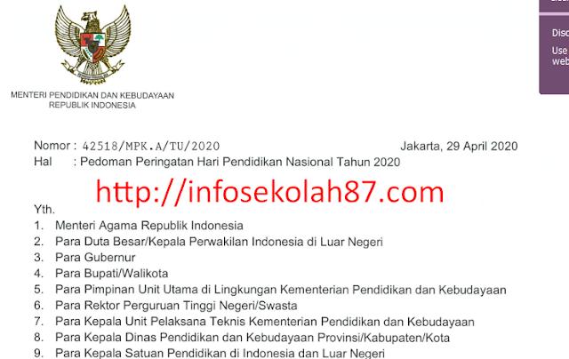 Surat Edaran Tema dan Logo Peringatan Hari Pendidikan Nasional Tahun 2020