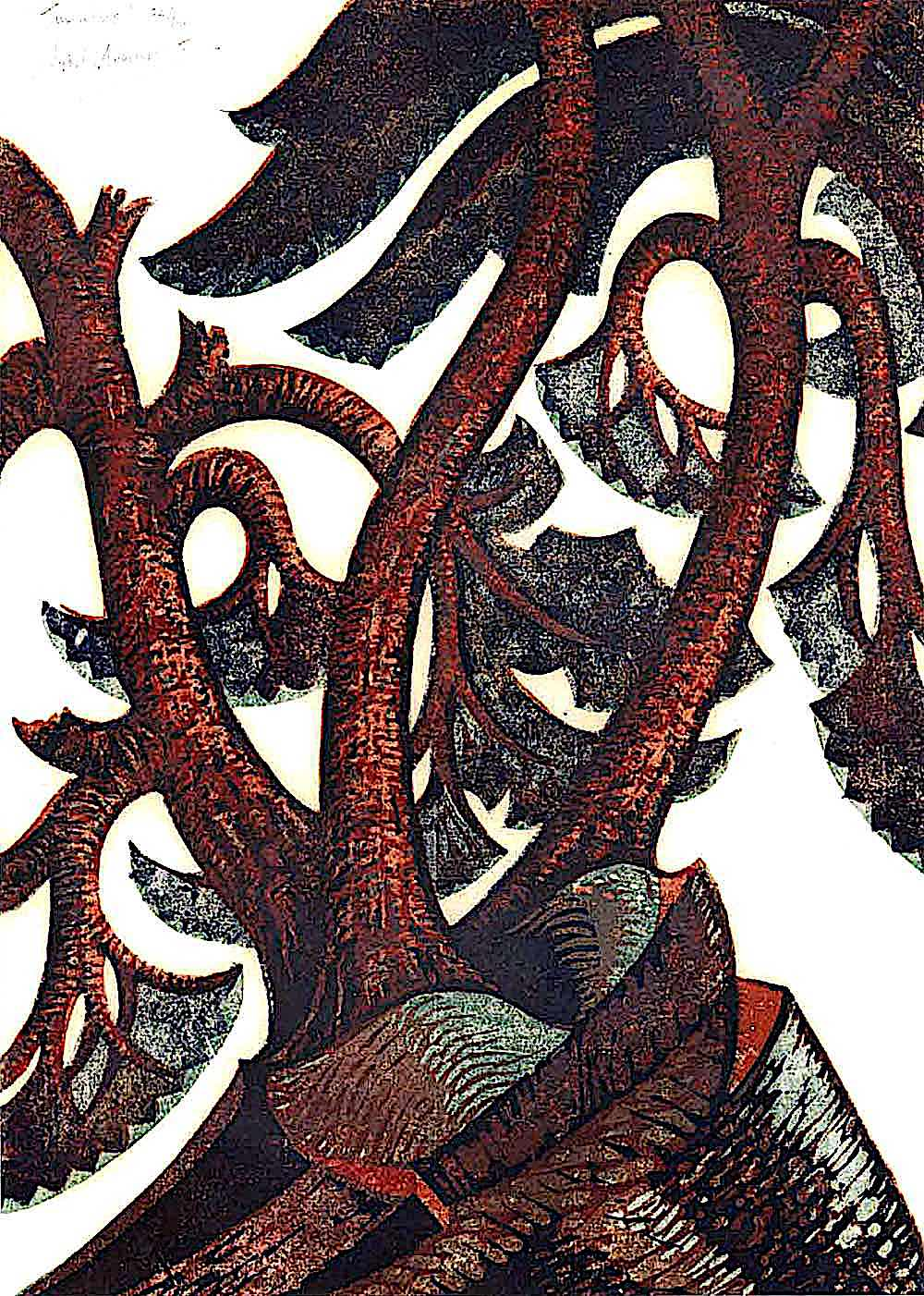 Sybil Andrews trees in a linocut print