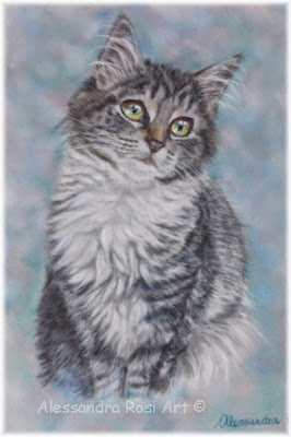 Custom  cat portrait, pastel pet portraits, paintings of cats