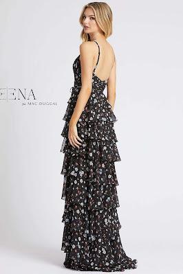 Floral Printed tiered enening dress Ieena For Mac Duggal Black floral color Back side