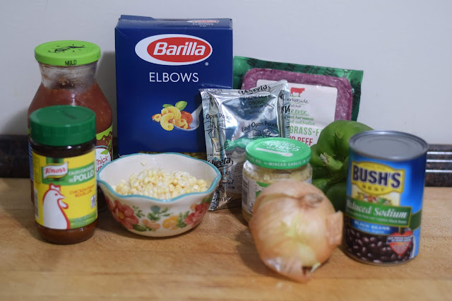 All the ingredients needed to make the Taco Mac and Cheese.