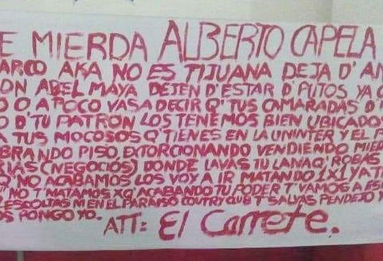"""Sicarios de """"El Carrete"""" dejan narcomantan amenazando a Comisionado de Seguridad en Cuernavaca, Morelos"""