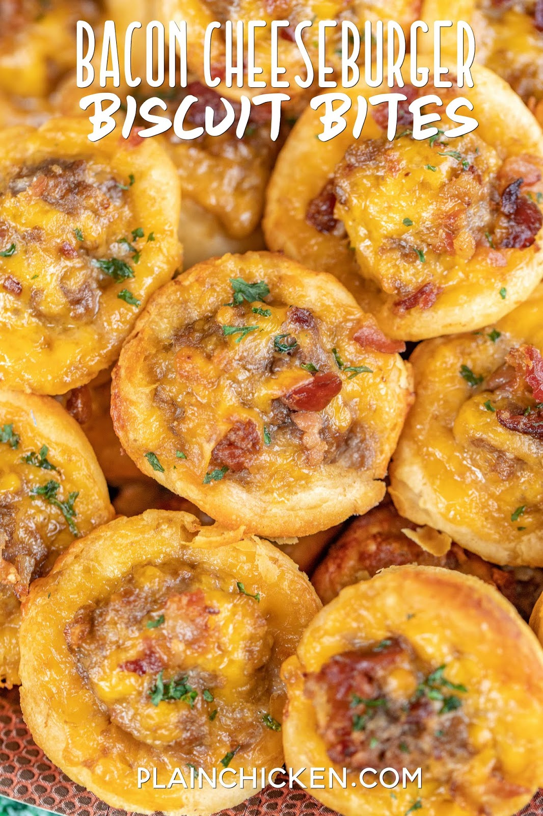 bacon cheeseburger biscuit bites on a plate