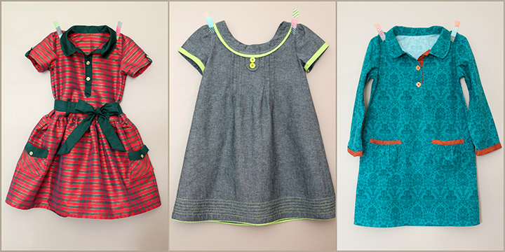Beautiful dresses sewn from Oliver + S Patterns by The Inspired Wren -- including Jump Rope Dress and Family Reunion Dress