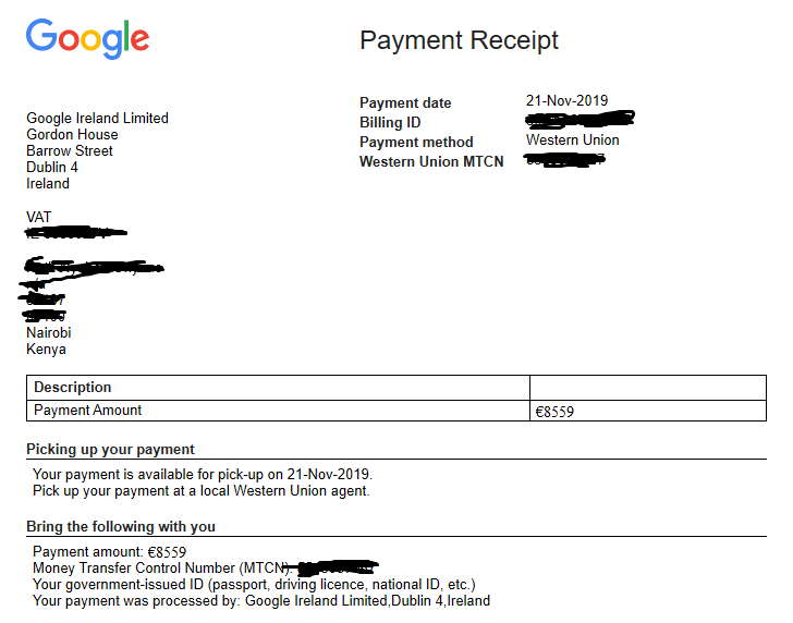 Google Adsense payments via Western Union