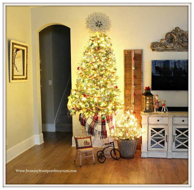 Vintage Inspired Farmhouse Christmas Tree-Book Page Wreath-Tinsel- From My Front Porch To Yours
