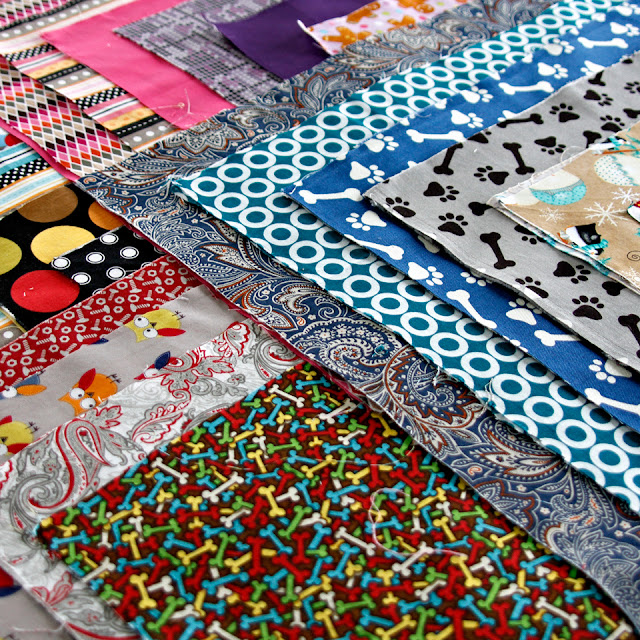 Colourful fabric craft stash