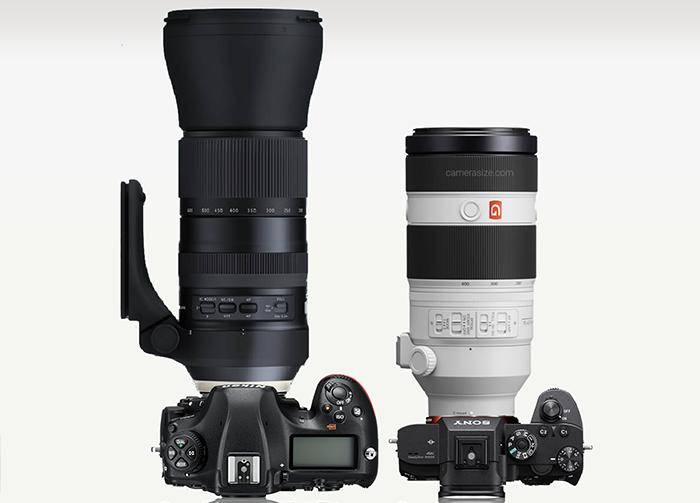Сравнение габаритов объективов Tamron 150-600mm и Sony 100-400mm