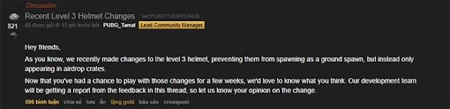 Cộng đồng game thủ PUBG tán thành việc đặt mũ 3 vào hòm thính