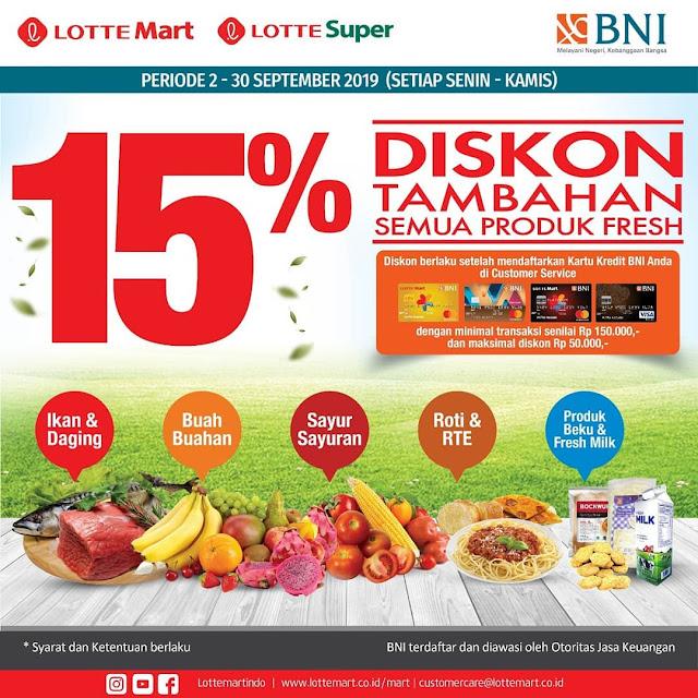 #LotteMart - #Promo Diskon Tambahan 15% Produk Fresh Pakai BNI (s.d 30 Sept 2019)