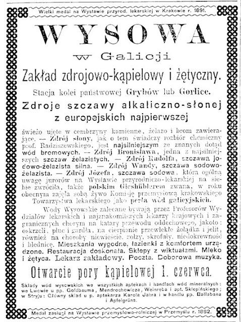 Reklama Wysowa 1893 wysowianka