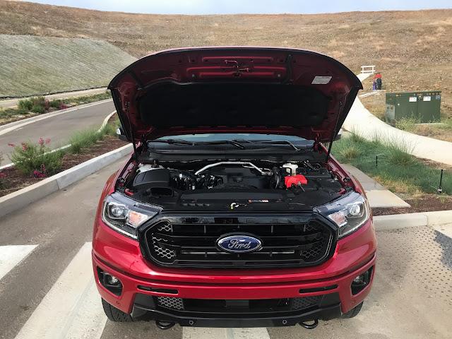 Hood open on 2020 Ford Ranger Supercrew 4X4 Lariat