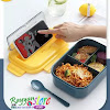 Lunchbox 0225 Microwavable Anti Tumpah 3 Sekat Free Sendok & Garpu - BPA Free - Hijau Kuning