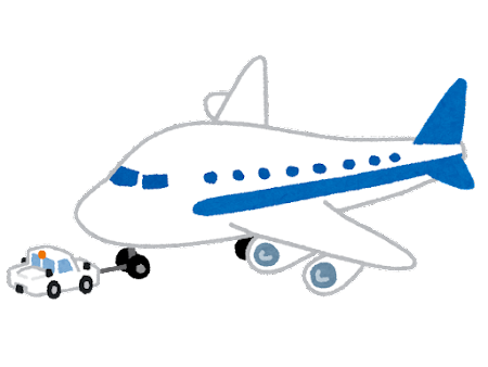 航空機を牽引するトーイングカーのイラスト