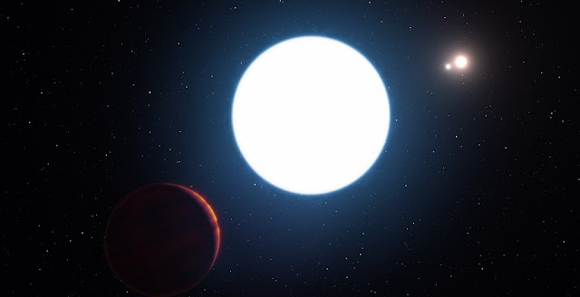 This artist's impression shows a view of the triple star system HD 131399 from close to the giant planet orbiting in the system. The planet is known as HD 131399Ab and appears at the lower-left of the picture. Credit: ESO/L. Calçada/M. Kornmesser