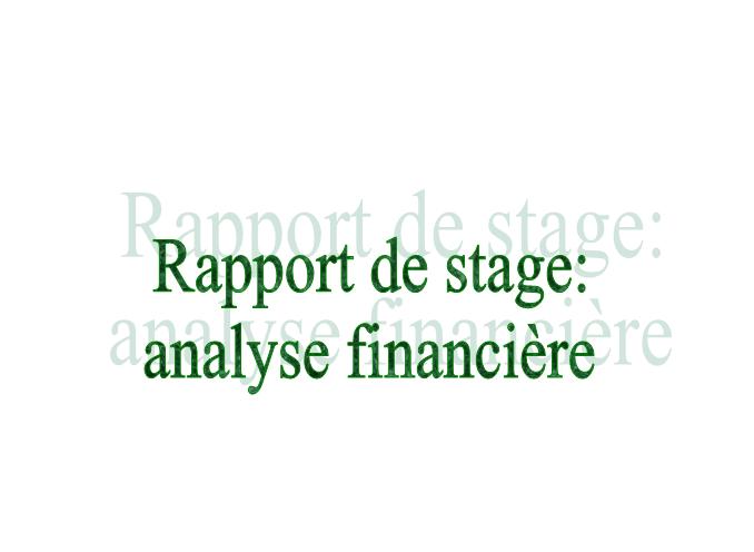 Rapport de stage analyse financière