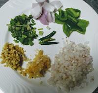 Ginger Garlic onion capsicum green chili spring onions for chilli chicken recipe